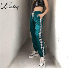 3f7d8cba20 Weekeep Drawstring High Waist Checkboard Patchwork Pants Women Fashion  Streetwear Plaid Sweatpants Ankle-length Pencil Pants