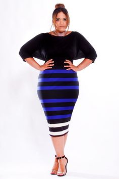Love this one because it once again blows a big horn in the ear to those who say curvy girls stay away from horizontal stripes. JIBRI Plus Size High Waist Pencil Skirt by jibrionline on Etsy, $120.00  Once a