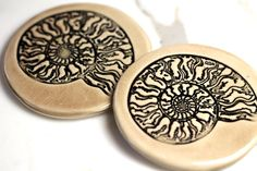 Ammonite Ceramic Coaster Set with TWO Coasters in Mocha by surly, $48.00