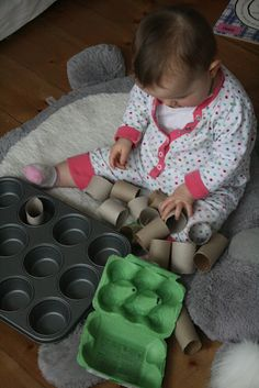 15 Independent Activities for BUSY One Year Olds...Make your own texture book...Peek-a-boo tray from shoebox lid...Baby Play Bottle...Buckle clipping toy...Treasure baskets...Tissue box stuffed with fabric squares...Nesting bowls...Muffin tin sorting...Putting balls through a tissue box...Tearing Paper...Playing with magnets...Placing objects in a large container...Pipe cleaners in a bottle