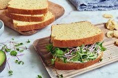 Gluten-Free soft, moist sandwich bread made with two kinds of milk. Milk Sandwich, Sandwich Bread Recipes, Yeast Bread Recipes, Loaf Recipes, Gluten Free Recipes, Keto Bread, Dough Ingredients, King Arthur Flour, Bread Rolls
