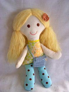 Summer handmade rag doll. Dress is from a 1960s sheet.
