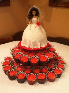 Red & Black Bridal shower cake and cupcakes on display