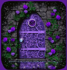 Ornate Purple Door w/stone facade and vining flowers Purple Door, Purple Haze, Shades Of Purple, Cool Doors, Unique Doors, When One Door Closes, Cottages By The Sea, All Things Purple, Purple Stuff