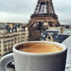 coffee in Paris. Perhaps my fondest memories of Paris was in that tucked away little coffee shop. But First Coffee, I Love Coffee, Coffee Art, Coffee Break, Morning Coffee, My Coffee, Coffee Shop, Coffee Cups, Coffee Tumbler