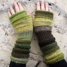 Unmatched warm and fuzzy hand knit wrist warmers fingerless mittens in wool and mohair