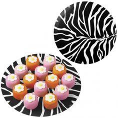 Mesa Dulce Descartables para Fiestas Rodal Cebra 30 cm x 6 Wilton 2104-0248