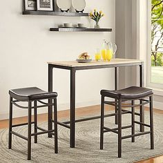 Create your own cozy pub corner at home with this Linon Home Decor Betty Rustic Brown Bar Table Set. Swooping saddle seat for comfort. Pub Table And Chairs, Dining Room Table, Dining Rooms, Kitchen Dining, Pub Tables, Dining Sets, Kitchen Chairs, Kitchen Furniture, Kitchen Island