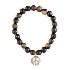 Tiger Ebony Stretch Bracelet with Diamond Peace Sign - Chan Luu