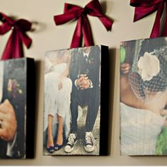 I'm not married yet, but if and when I ever tie the knot, this is what I'm going to do with the wedding photos. Canvas and ribbon :)