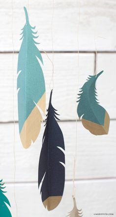 [] Gold Dipped Paper Feathers Hanging templates from Lia Griffith (could use them as any kind of decoration, not just a wall hanging)