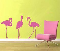 Flamingos Wall Decal por PlanetWallArt en Etsy