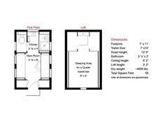The floor plan. XS-House Plans | Tumbleweed Tiny House Company