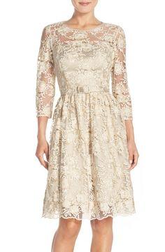 Eliza J Belted Lace Fit & Flare Dress (Regular & Petite) | Nordstrom