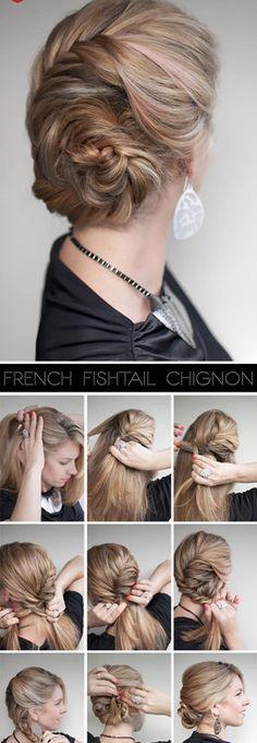 Fishtail Geflochtene Chignon Frisuren - http://bestemoderne-mode.com/fishtail-geflochtene-chignon-frisuren/