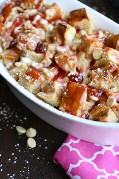 Cherry-Rhubarb and White Chocolate Bread Pudding is a sweet-tart treat that is amazing! Cherry-Rhubarb and White Chocolate Bread Pudding is an easy, springtime dessert you'll love! Easy To Make Desserts, Easy Desserts, Delicious Desserts, White Chocolate Bread Pudding, Chocolate Pudding Recipes, Best Dessert Recipes, Sweet Recipes, Paleo Recipes, Dinner Recipes