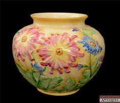 1940s Royal Winton Chrysta Chrysanthemum Vase Jardiniere Grimwades England Vtg