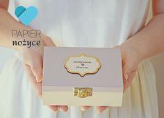"""Personalizowane pudełko na obrączki wzór """"True LOVE"""""""