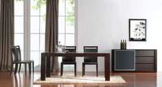 """Colibri Dining Dining Table SKU1766711 Description : The Colibri Dining Collection by J&M Furniture is a stunning addition to any dining room.  The Colibri Table features a 16"""" built in leaf that easily converts the 54"""" long table to 69"""".  The table is finished in a rich dark walnut finish which shows off the woods natural texture.  The Colibri Buffet features a frosted glass gliding door that covers 2 glass shelves. The right side of the buffet has 3 drawers which are covered in leather."""