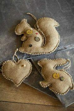 Hand Stitched Burlap Ornaments by Vagabond Vintage