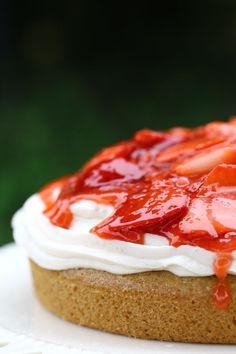 Strawberries take centre stage, atop this summery vanilla cake. {vegan}