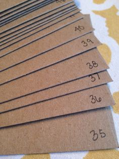 Number your RSVPs! Smartest advice I saw on Pinterest for wedding planning! Number the bottom of the RSVP card and log who has which number on a spreadsheet. Easiest way to track who still owes you an RSVP. When you don't get them back (and there will be many that you won't, its just how it goes) you know exactly who to confirm with. GENIUS!!!