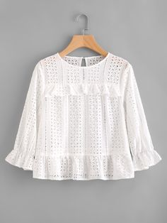 SheIn offers Frill Trim Eyelet Embroidered Top & more to fit your fashionable needs. Casual Dresses, Casual Outfits, Fashion Outfits, Blouse Styles, Blouse Designs, Dress For Girl Child, Beautiful Blouses, Elegant Outfit, Kind Mode
