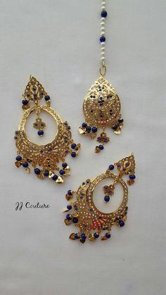 Designer Bollywood Gold Earrings Kundan by JJCOUTUREJEWELS on Etsy