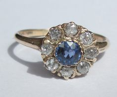 Antique Ceylon Sapphire and Old Mine Cut Diamond Engagement RIng