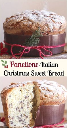 christmas bread Panettone, an Italian Christmas Sweet Bread Recipe, an easy delicious yeast bread filled with raisins, candied fruit or chocolate chips. Holiday Bread, Holiday Baking, Christmas Baking, Italian Desserts, Italian Recipes, Italian Cookies, Panatone Bread, Italian Christmas Cake, Easy Christmas Cake