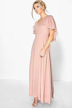 Hollie Chiffon Cape Detail Maxi Dress