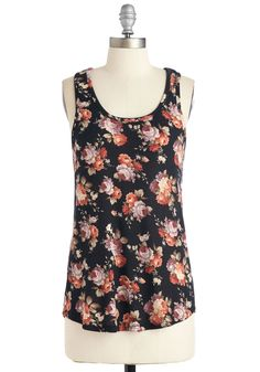 Fairground Femme Top. While you nibble cotton candy on the carousel, youre looking casually cute in this floral-printed racerback! #black #modcloth
