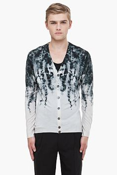 Alexander McQueen grey leaf print cardigan for men | SSENSE