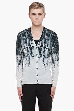 ALEXANDER MCQUEEN Grey Leaf Print cardigan