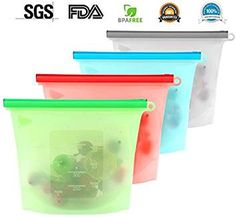 M.U.V.The BEST Reusable Silicone Food Storage Preservation Bags Container Versatile Cooking Bag for Freeze, Steam, Heat, Microwave Fruits Vegetables Meat Milk and More (Set of 4)