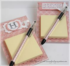 So cute.  I've already made these before, but I love the punched paper under the Post-it notes!