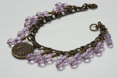 Antique Brass Zodiac Light Purple/ Lilac/ Lavender Gemini Crystal Charm Bracelet