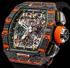 The new Richard Mille RM McLaren Automatic Flyback Chronograph watch with images, price, background, specs, & our expert analysis. Richard Mille, Best Watches For Men, Luxury Watches For Men, Cool Watches, Stylish Watches, Fossil Watches, Women's Watches, Watches Online, Expensive Watches