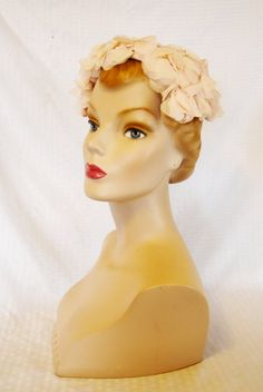 50s 60s Vintage Pink Flower Half Hat with Bow by MyVintageHatShop