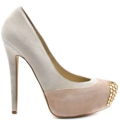Add some zest to your regular go-to pump style with this heel from Penny Loves Kenny. Tetra brings you an ivory and light pink suede upper with gold studs at the vamp. This pump is complete with a 4 3/4 inch heel and 1 inch platform.