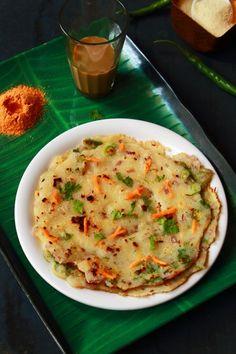 Rava Uttapam - For Healthy Indian Breakfast Breakfast Bar Food, Indian Breakfast, Best Breakfast Recipes, Veg Recipes, Indian Food Recipes, Vegetarian Recipes, Cooking Recipes, Healthy Recipes, Healthy Food