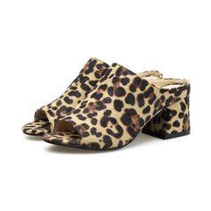 Leopard Print Peep Toe Suede Chunky Heel Slip On Sandals Ladies Sandals, Chunky Heels, Heeled Mules, Peep Toe, High Heels, Slippers, Slip On, Lady, Fashion