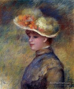 Pierre Auguste Renoir Young Woman Wearing A Hat oil painting reproductions for sale