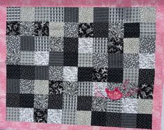Black White and Pink Crib Size Baby Quilt by ButterflyinStitches, $89.00