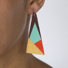 Painted Geometric Leather Earrings.