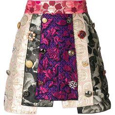 Dolce & Gabbana panelled jacquard skirt (£2,780) ❤ liked on Polyvore featuring skirts, knee length a line skirt, purple print skirt, multi colored skirt, purple skirt and a line skirt