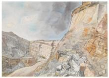 Edward Bawden (British, Nant Mawr Quarry, Cornwall, Watercolour and wash, 22 x 30 in. Wood Engraving, Landscape Paintings, Landscapes, View Image, Geology, Science Nature, Impressionist, Printmaking, Britain