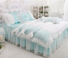 FADFAY Home Textile,Beautiful Korean Rose Bedding Sets,Luxury Girls Pink Lace Ruffle Bedding Sets,Romantic Princess Wedding Bedding Set,Girls Fairy Bedding Sets White Lace Bedding, Pink Bedding Set, Blue Comforter, Ruffle Bedding, Bed Covers, Duvet Cover Sets, Beautiful Bedding Sets, Romantic Bedding, Bed Cover Design
