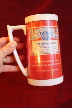 BUDWEISER BEER MUG, Thermo serv mug,large beer mug,plastic outdoor mug,Sugar Bowl Classic mug,gift for dad,vintage advertising mug,promo mug by TheJellyJar on Etsy