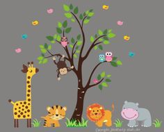 """Baby Nursery Wall Decals Safari Jungle Childrens Themed 83"""" X 101"""" (Inches) Animals Trees Wildlife: Repositionable Removable Reusable Wall Art: Better than vinyl wall decals: Superior Material Nursery Wall Decals http://www.amazon.com/dp/B00AM7H90U/ref=cm_sw_r_pi_dp_IOhQvb1DJZRP5"""
